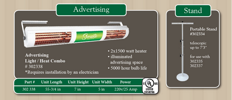 Lights & heaters information - advertising
